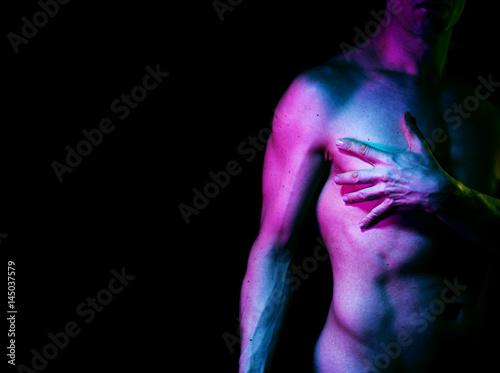 Slim male nude man Poster