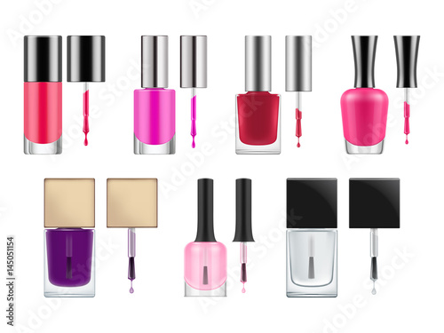 set of realistic vector packages for nail polish opened transparent