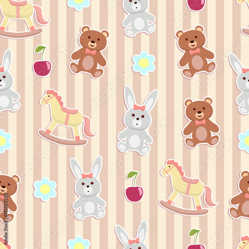 Fototapeta Cute animal toy seamless striped background.