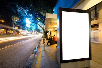 emtpy light box on street in modern city