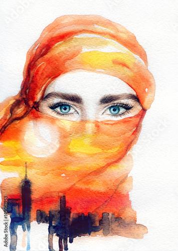Arabian woman. Fashion illustration. Watercolor painting