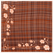 Woven  grunge striped and checkered square napkin with floral applique and fringe in orange ,white ,brown colors