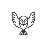 Owl line icon, outline vector sign, linear style pictogram isolated on white. Wisdom symbol, logo illustration. Editable stroke. Pixel perfect