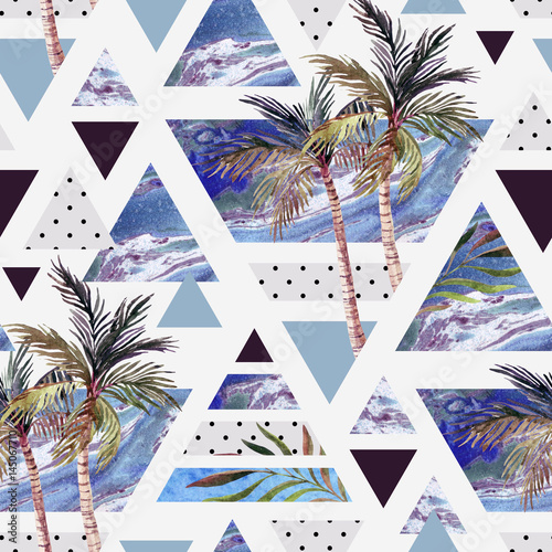 Abstract summer geometric seamless pattern. - 145067710