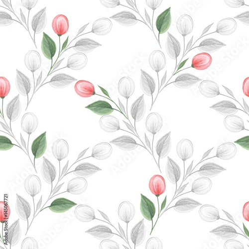 Spring flowers. Hand drawn watercolor floral seamless pattern - 145067721