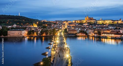 Foto op Canvas Praag Vltava River and Bridges in Prague, Czech republic, Prague