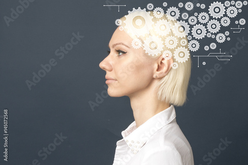 Beautiful girl thinks thoughts gear engineering Poster