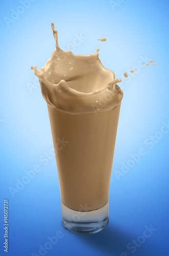 Poster Milkshake Splash of Chocolate Milkshake in A Glass