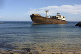 Rusted ship in crystal clear sea, Arrecife, Lanzarote, Canary Islands, Spain