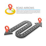 Paved path on the road, Road arrow location, Vector background