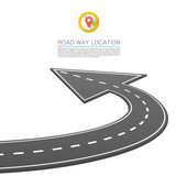 Fototapety Paved path on the road, Road location arrow, Vector background