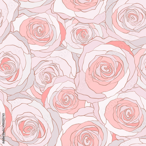 Cotton fabric roses seamless vector pattern