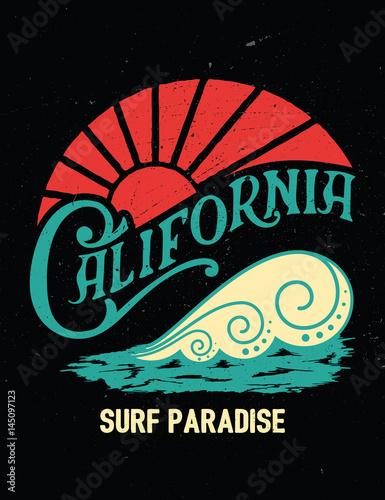 Fototapeta California vintage print.Surf graphic.