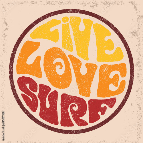 Fototapeta Round badgeLive Love Surf.