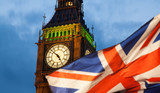 union jack flag and iconic Big Ben at the palace of Westminster, London - the UK prepares for new elections - 145099190