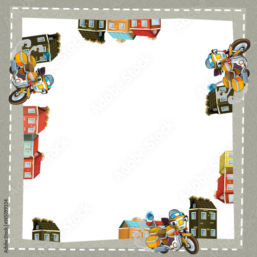 cartoon frame of a motorcycle in the city on the road with space for text - 145099334