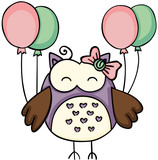 Cute owl holding balloons