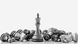 Black and White King and Knight of chess setup on dark background . Leader and teamwork concept for success. Chess concept save the king and save the strategy. - 145110710