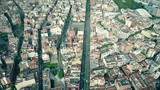 Central streets of Barcelona aerial view, Spain