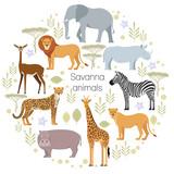 African animals elephant, rhino, giraffe, cheetah, zebra lion hippo isolated Savanna Vector illustration - 145113731