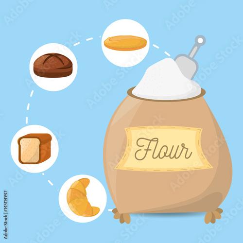 flour ingient bakery bread vector illustration eps 10