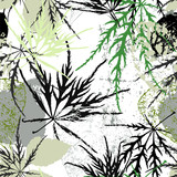 seamless background pattern, with leaves, strokes and splashes