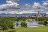 Denver City Park and a white top of Mt. Evans