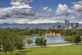 Denver City Park and a white top of Mt. Evans