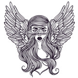 Scandinavian goddess. Valkyrie with wings. Zombie or vampire Girl Line Art. Hand drawn vector illustration. Cartoon style. Could be used as design for coloring book or as part of Halloween decor. - 145127118