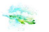 Watercolor illustration of sky with cloud. - 145127570
