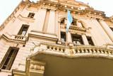 Vintage Building Argentina Flag