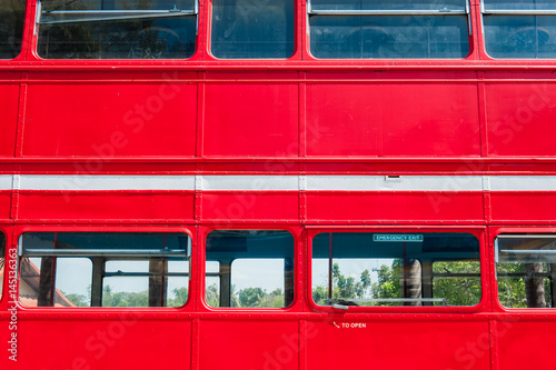Detail of red Double Decker Bus,rivet and panel for background texture Poster