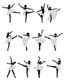 Silhouettes of ballerinas on a white background