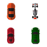 Set of top views of different cars, Vector illustration
