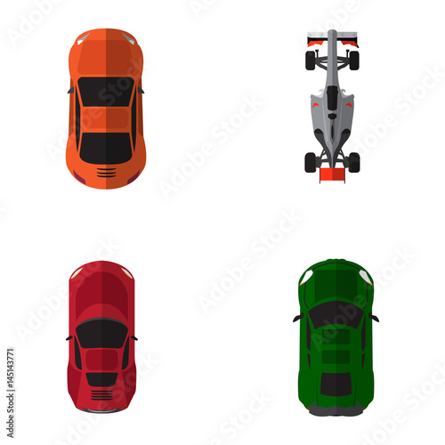 Plexiglas F1 Set of top views of different cars, Vector illustration