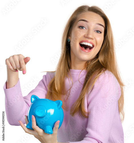 Poster Young woman with piggy bank