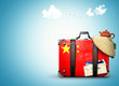 China, vintage suitcase with China flag
