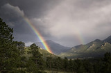 Fototapeta Tęcza - Rainbow after mountain thunderstorm in Colorado © Tom