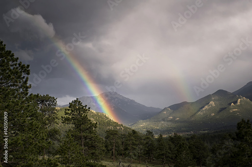 Poster Rainbow after mountain thunderstorm in Colorado