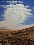 Peculiar cloud, landscape of Fuerteventura, Canary islands