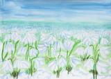 Snowdrops, painting watercolor