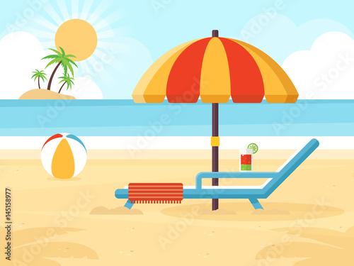 Fotobehang Pool Beach Landscape with Beach Umbrella, Beach Chair, Cocktail and a Ball. Flat Design Style.