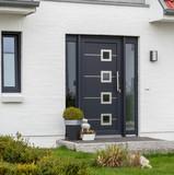 Moderne graue Haustür und Glas - 145162989
