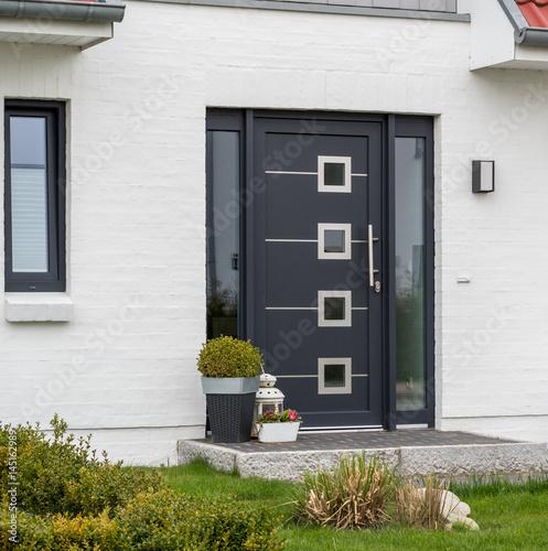 Moderne graue Haustür und Glas