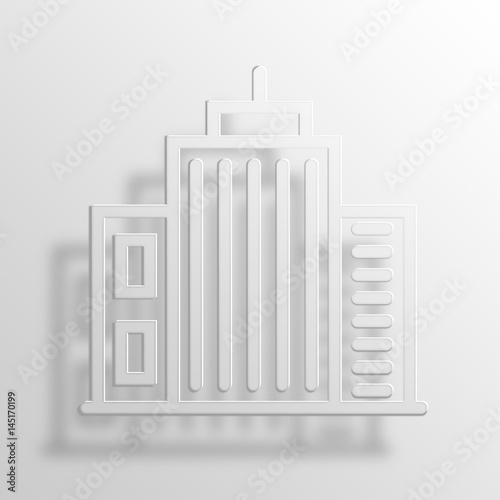 Skyscraper 3D Paper Icon Symbol Business Concept