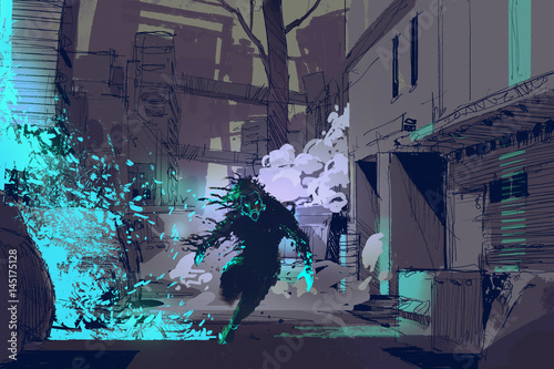 sci-fi concept of the futuristic beast running from blue light particles in city alley, illustration digital painting © grandfailure