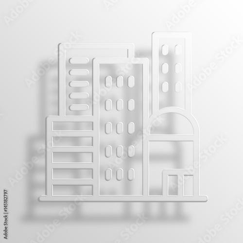 City 3D Paper Icon Symbol Business Concept              - 145182797