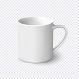 Realistic white coffee mug isolated on transparent background