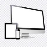 Vector set of Modern Digital devices on transparent background