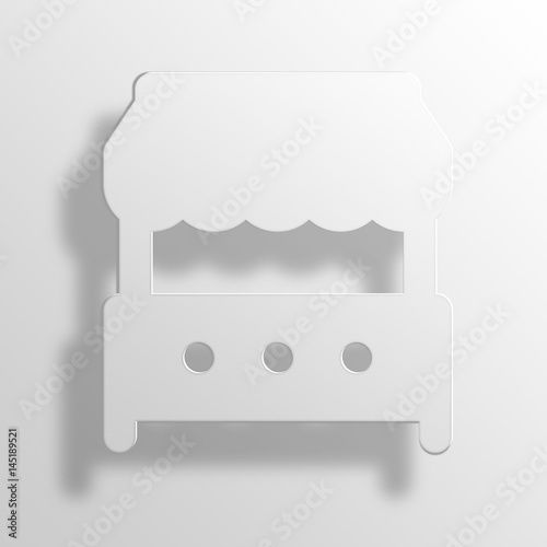 Grocery Store 3D Paper Icon Symbol Business Concept